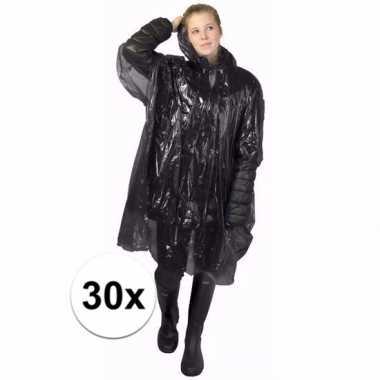30x zwarte regen ponchos voor volwassenen
