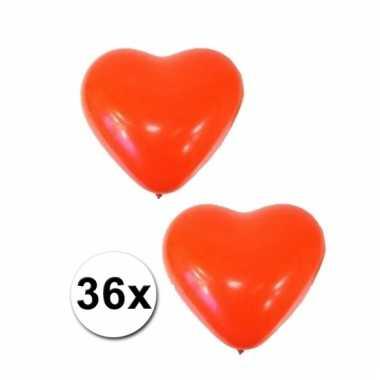 36 ballonnen in hartjes vorm rood
