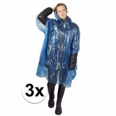 3x blauwe regen ponchos voor volwassenen