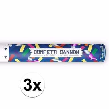 3x confetti knaller metallic kleuren 40 cm