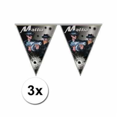 3x gangster thema vlaggenlijn maffia