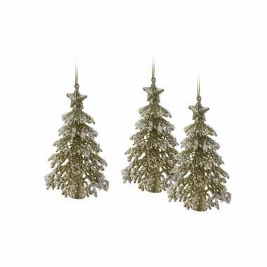 3x gouden glitter kerstboom hanger 16 cm