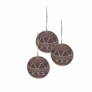 3x houten kerstboom versiering schijf hout met bruin printje 8 cm