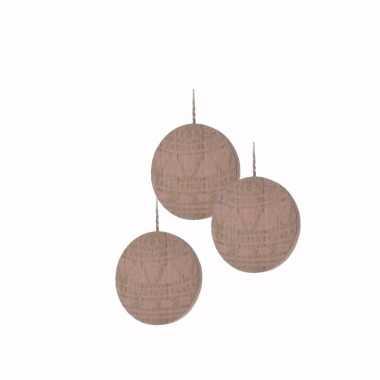 3x houten kerstboom versiering schijf hout met roze printje 8 cm