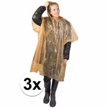 3x oranje regen ponchos voor volwassenen