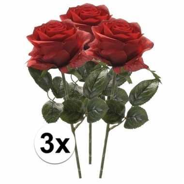 3x rode roos kunstbloem 45 cm