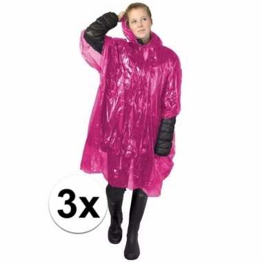 3x roze regen ponchos voor volwassenen