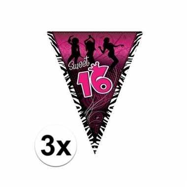 3x sweet 16 versiering slingers 5 meter