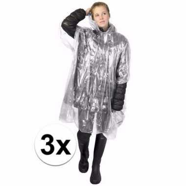 3x transparante regen ponchos voor volwassenen