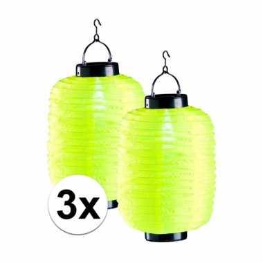3x tuin / balkon lampionnen op zonne energie geel