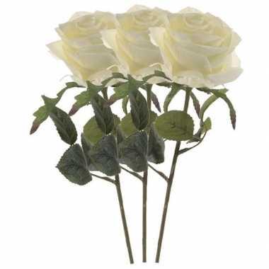 3x witte roos kunstbloem 45 cm