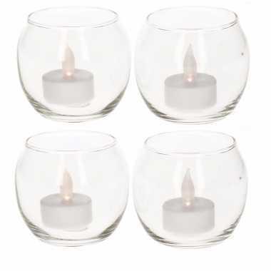 4 glazen theelichthoudertjes met led licht