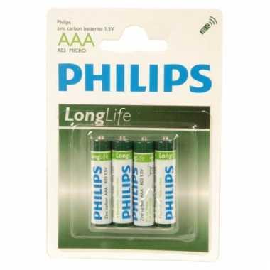 4 stuks philips aaa batterijen voor lage prijs
