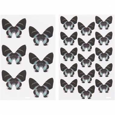 4 vellen met vlinder stickers