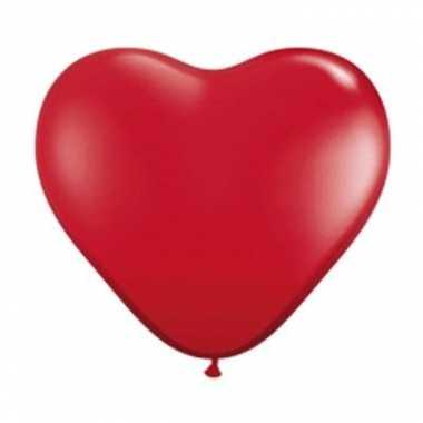 5 grote hartjes ballonnen rood