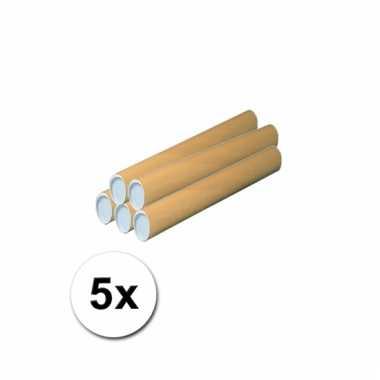5 handwerk kokers van karton 43x6 cm