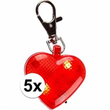 5 sleutelhangers rood hartje met verlichting 4 cm