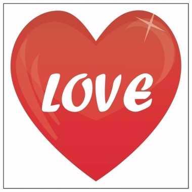 5 valentijn stickers love 10,5 cm