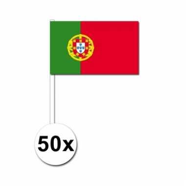 50 zwaaivlaggetjes portugese vlag