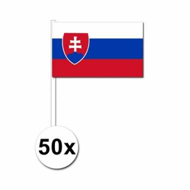 50 zwaaivlaggetjes slowaakse vlag