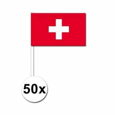 50 zwaaivlaggetjes zwitserse vlag