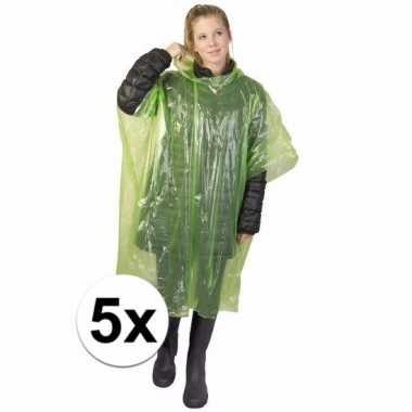 5x groene regen ponchos voor volwassenen