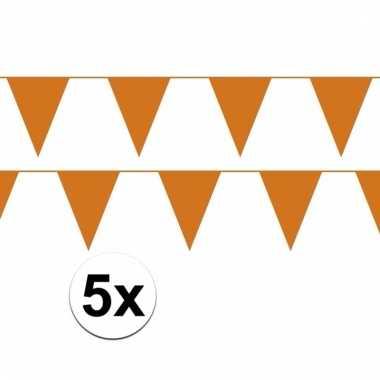 5x oranje vlaggenlijnen van plastic