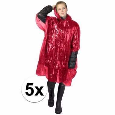 5x rode regen ponchos voor volwassenen