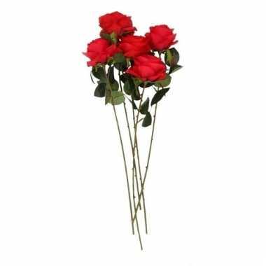 5x rode roos kunstbloem 45 cm