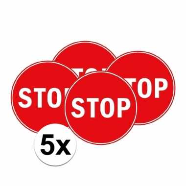 5x stop verkeersbordje voor slaapkamer