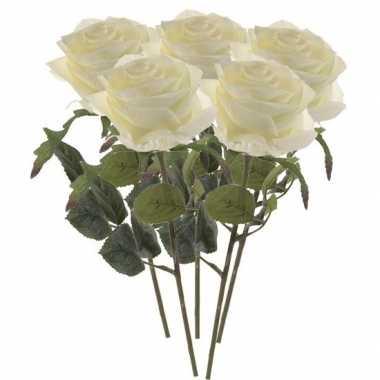 5x witte roos kunstbloem 45 cm