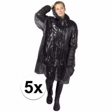 5x zwarte regen ponchos voor volwassenen