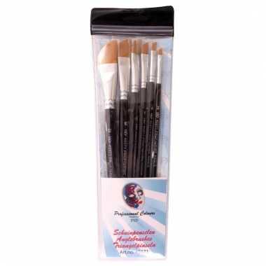 6 platte schuine schmink penselen set synthetisch