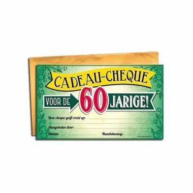 60 jarige kado cheque bedankje