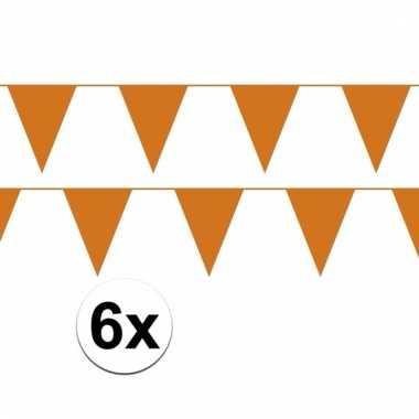 6x oranje vlaggenlijnen van plastic