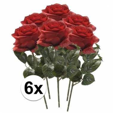 6x rode roos kunstbloem 45 cm