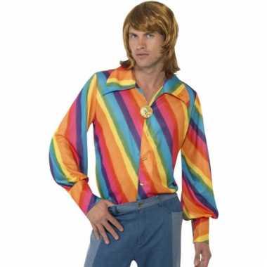 70s shirt met regenboog print
