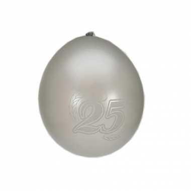 8 stuks 25 jaar ballonnen zilver