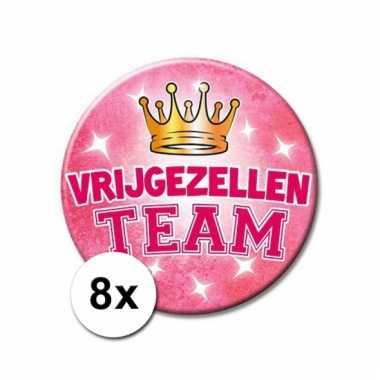 8 vrijgezellen team xxl roze buttons