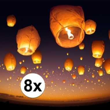 8 x grote witte wensballon 50 x 100 cm