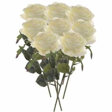 8x witte roos kunstbloem 45 cm