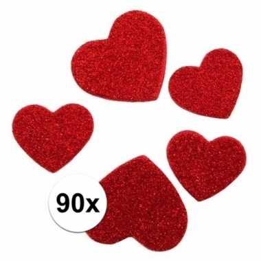 90 stickertjes in de vorm van hartjes