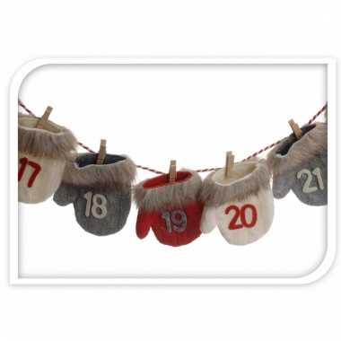Advent kalender kerstwantjes rood/wit/grijs