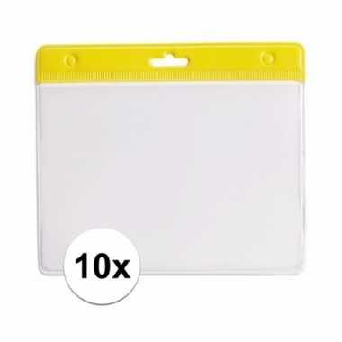 Afgeprijsde 10 badgehouders voor aan een keycord geel 11,2 x 58 cm