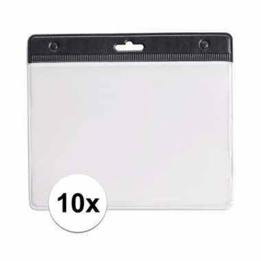 Afgeprijsde 10 badgehouders voor aan een keycord zwart 11,2 x 58 cm
