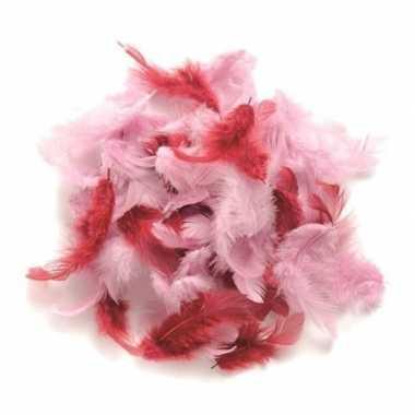 Afgeprijsde 10 gram hobby veren roze tinten