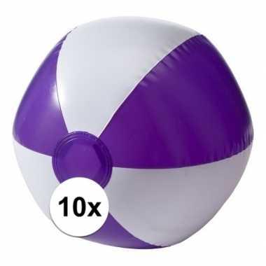 Afgeprijsde 10 opblaas strandballen paars met wit