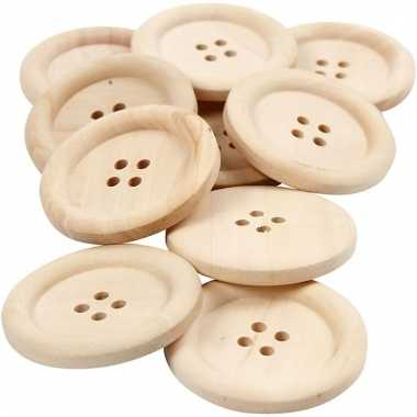 Afgeprijsde 10 stuks houten knopen 3.5 cm