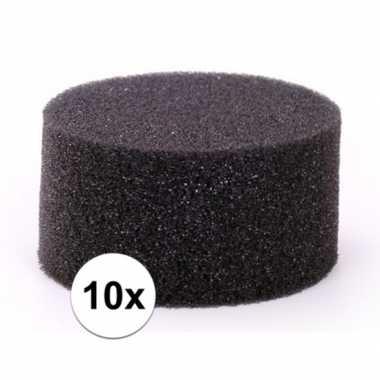 Afgeprijsde 10 stuks zwarte schmink / make up sponsjes rond