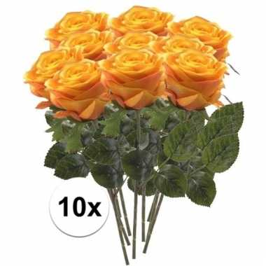 Afgeprijsde 10 x geel/oranje roos simone 45 cm kunstplant steelbloem